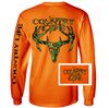 Country Life Outfitters Orange Camo Realtree Deer Skull Head Hunt Vintage Unisex Long Sleeve Bright T Shirt - SimplyCuteTees