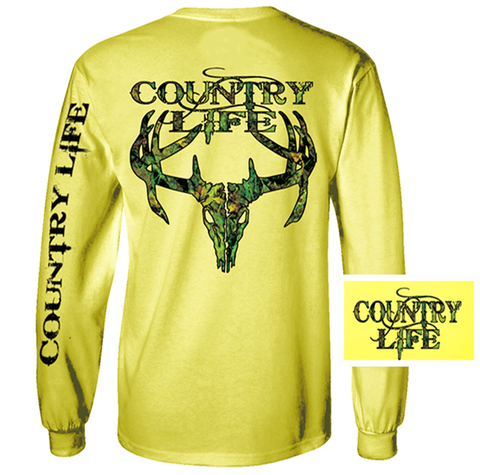 Country Life Outfitters Yellow Camo Realtree Deer Skull Head Hunt Vintage Unisex Long Sleeve Bright T Shirt - SimplyCuteTees