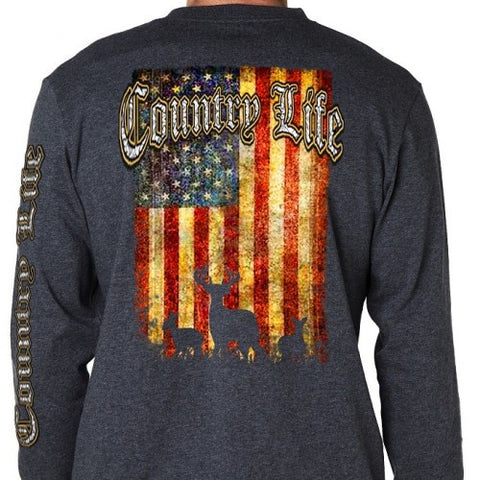 Country Life Outfitters Vintage USA Flag Deer Unisex Long Sleeve T-Shirt - SimplyCuteTees