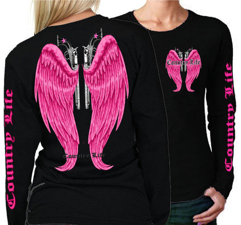 Country Life Outfitters Wings Guns Vintage Black & Pink Long Sleeve Bright T Shirt - SimplyCuteTees