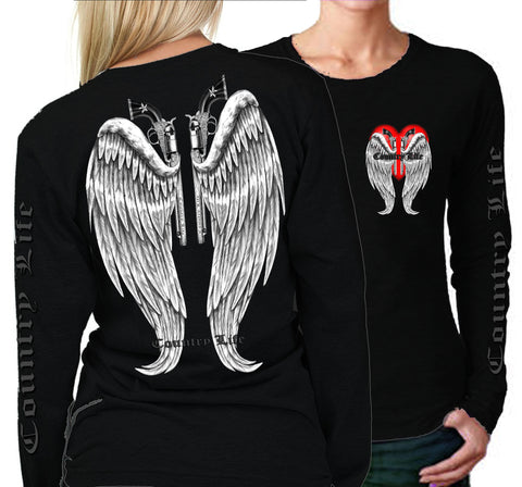 Country Life Outfitters Wings Guns Vintage Black Long Sleeve Bright T Shirt - SimplyCuteTees