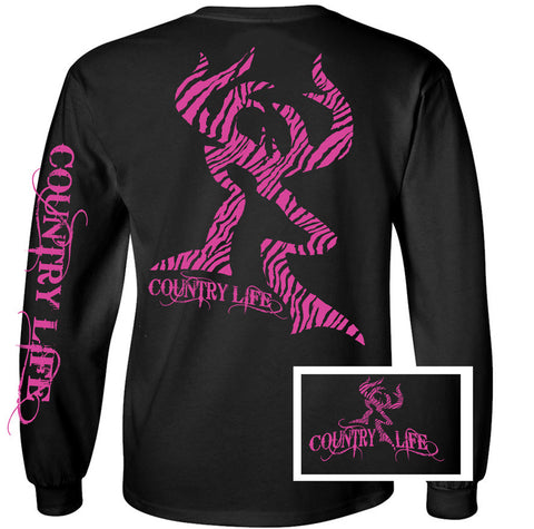 Country Life Outfitters Black & Pink Zebra Deer Head Hunt Vintage Long Sleeve Bright T Shirt - SimplyCuteTees