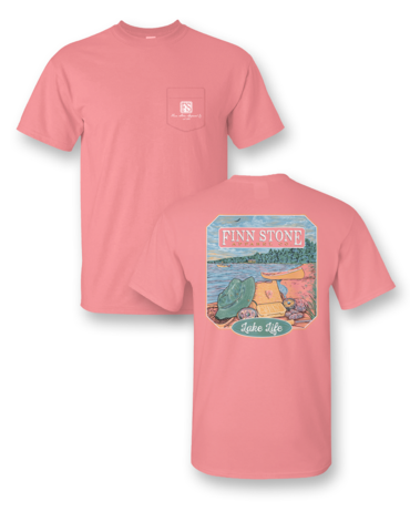 Finn Stone Apparel Lake Life Comfort Colors Pocket Unisex Frass Bright T Shirt