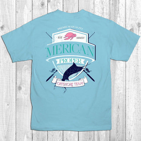 Merican Proper Fish Offshore Team Swordfish Turtle Preppy Southern Bright T-Shirt