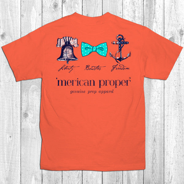 SALE Merican Proper Preppy Liberty Bowties Freedom Anchor Bow Bell Unisex T-Shirt