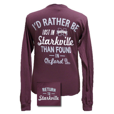 MSU Mississippi State Bulldogs Lost In Starkville Girlie Bright Long Sleeve T Shirt