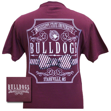 MSU Mississippi State Bulldogs Prep Bow Script Girlie Bright T Shirt