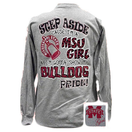 SALE MSU Mississippi State Girl Pride Bulldogs Girlie Bright Long Sleeve T Shirt