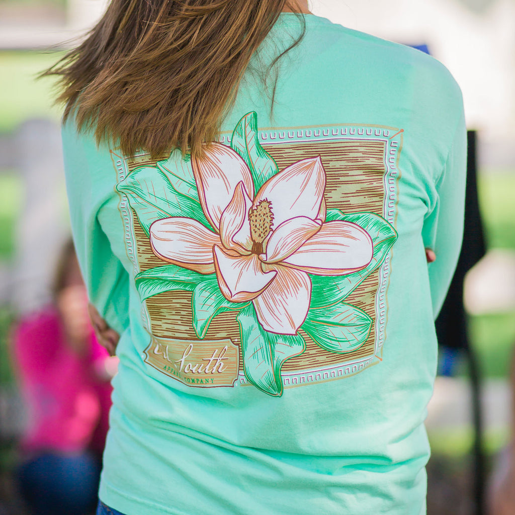 Old South Magnolia Flower Comfort Colors Long Sleeve T Shirt