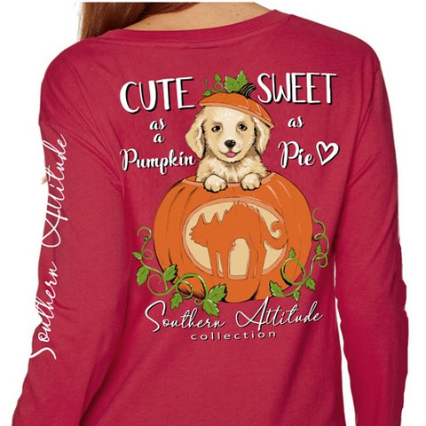 Southern Attitude Preppy Pumpkin Puppy Fall Maroon Long Sleeve T-Shirt