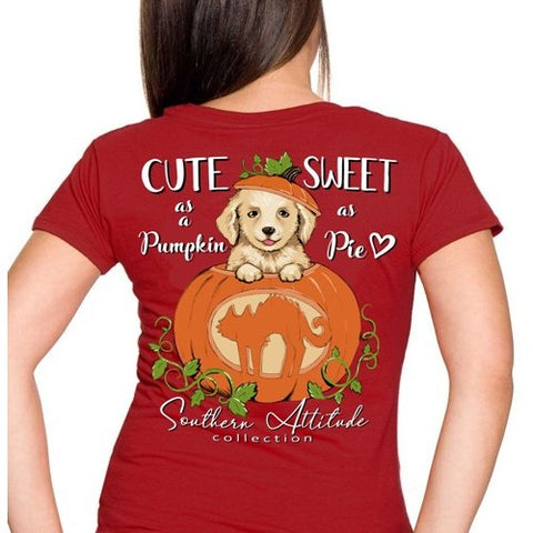 Southern Attitude Preppy Pumpkin Puppy Fall Maroon T-Shirt
