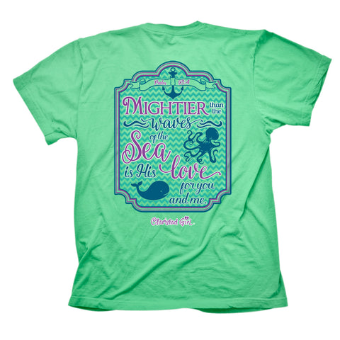 Cherished Girl Mightier Than the Waves of the Sea Whale Anchor Christian Bright T Shirt