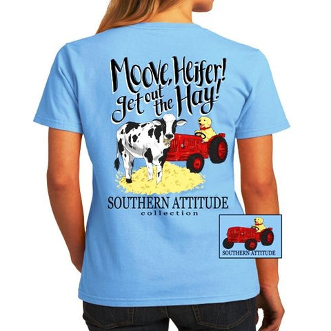 Southern Attitude Preppy Move Get Out The Hay Cow T-Shirt
