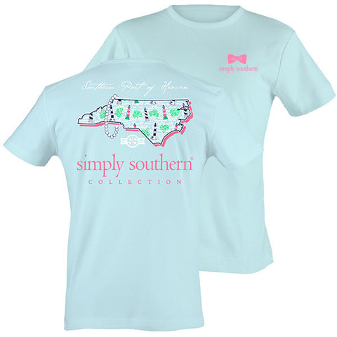 Simply Southern North Carolina Preppy LightHouse State Pattern T-Shirt