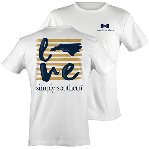 Simply Southern North Carolina Preppy Gold Love State Pattern T-Shirt