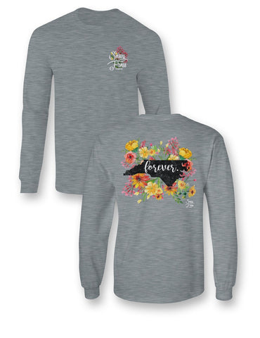 Sassy Frass North Carolina Forever Flowers NC State Design Long Sleeve Girlie Bright T Shirt