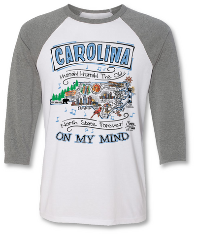 Sassy Frass North Carolina on My Mind State NC Raglan Girlie Bright T Shirt