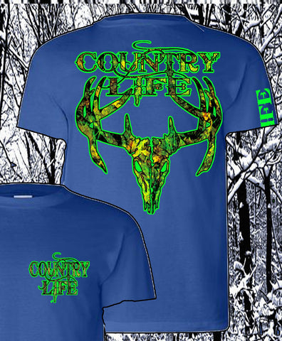 Country Life Outfitters Royal & Green Camo Realtree Deer Skull Head Hunt Vintage Unisex Bright T Shirt - SimplyCuteTees