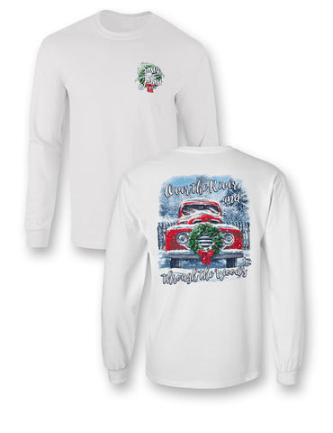 Sassy Frass Over the River & Through the Woods Christmas Long Sleeve Comfort Colors Girlie T Shirt