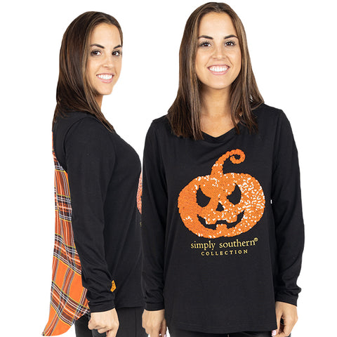 Simply Southern Preppy Pumpkin Halloween Fashion Blouse Long Sleeve T-Shirt