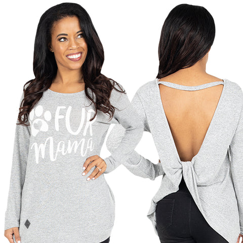 Simply Southern Preppy Fur Mama Open Back Fashion Sweater Long Sleeve T-Shirt