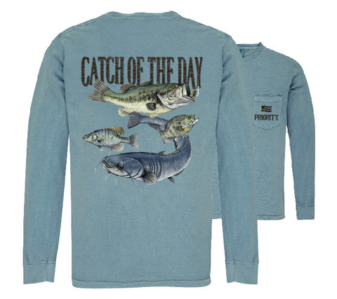 Southern Couture Priority Catch Of The Day Fishing Pocket Unisex Long Sleeve T-Shirt - SimplyCuteTees