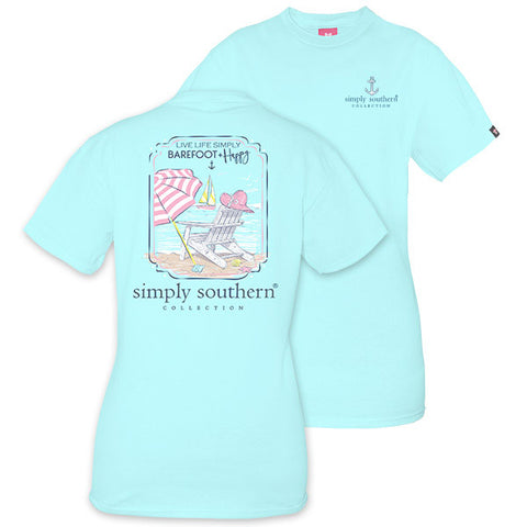 72a56527 Simply Southern Preppy Barefoot And Happy T-Shirt