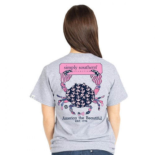 a038d43ed0b Simply Southern Preppy Crab America The Beautiful 1776 T-Shirt ...