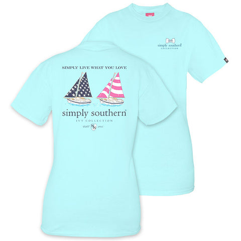 Simply Southern Preppy USA Sail Boats Ivy Collection Unisex T-Shirt