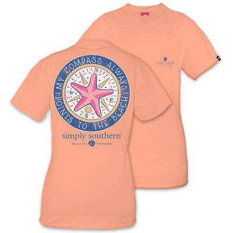 Simply Southern Preppy Compass Points To The Beach Starfish T-Shirt