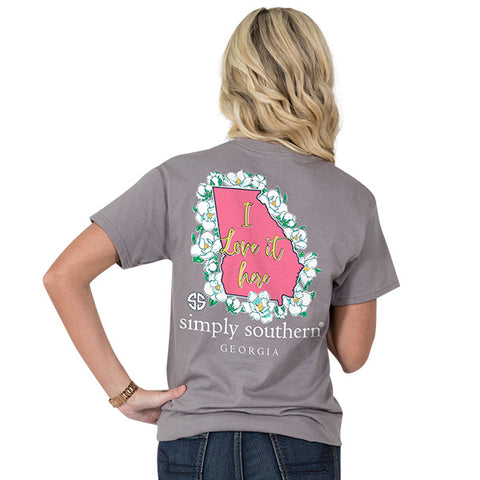 Simply Southern Georgia State I Love it Here Home Flowers GA T-Shirt