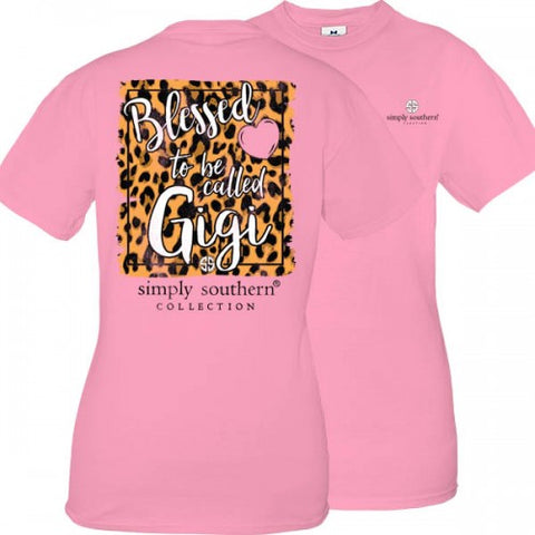 4bb6cd0ccb2 Simply Southern Preppy Blessed To Be Called Gigi Leopard T-Shirt