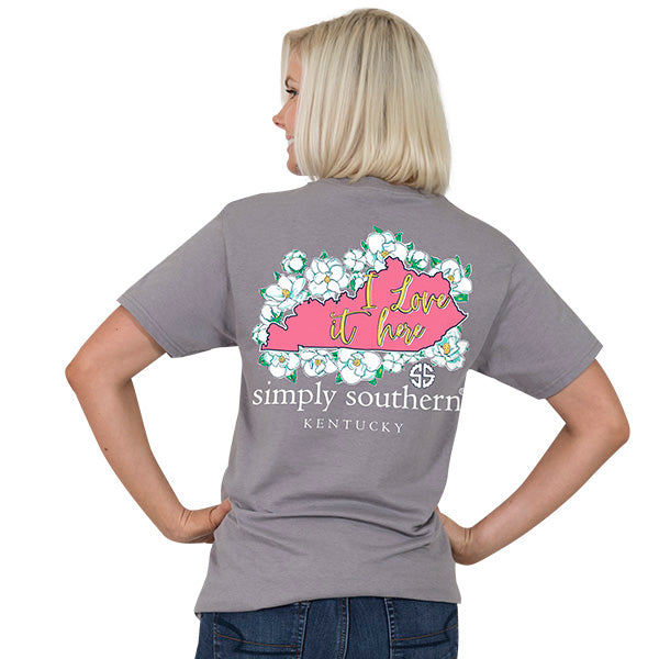 39df857269a0 Simply Southern Kentucky State I Love it Here Home Flowers KY T-Shirt