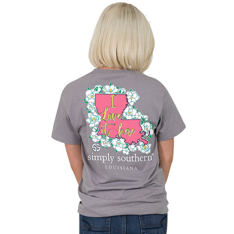 Simply Southern Louisiana State I Love it Here Home Flowers LA T-Shirt