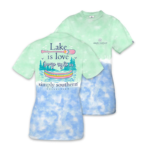 Simply Southern Preppy Lake Is Love Canoe Tie Dye T-Shirt