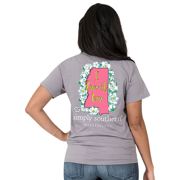 Simply Southern Mississippi State I Love it Here Home Flowers MS T-Shirt