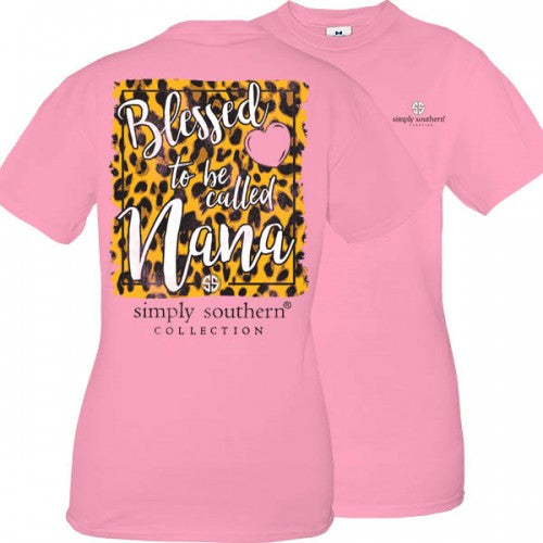 Simply Southern Preppy Blessed To Be Called Nana Leopard T-Shirt