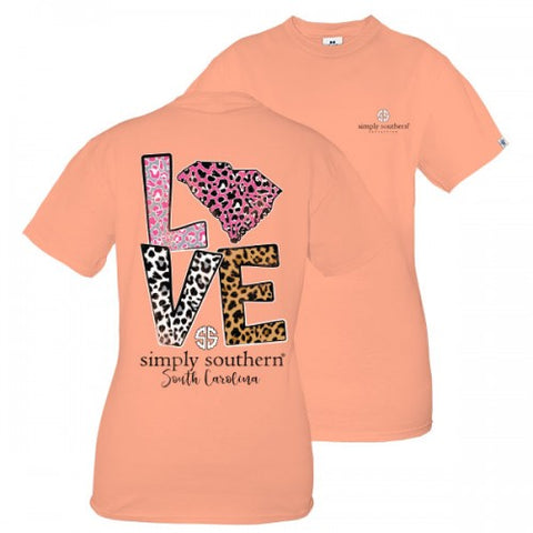 Simply Southern Preppy Love South Carolina Leopard T-Shirt
