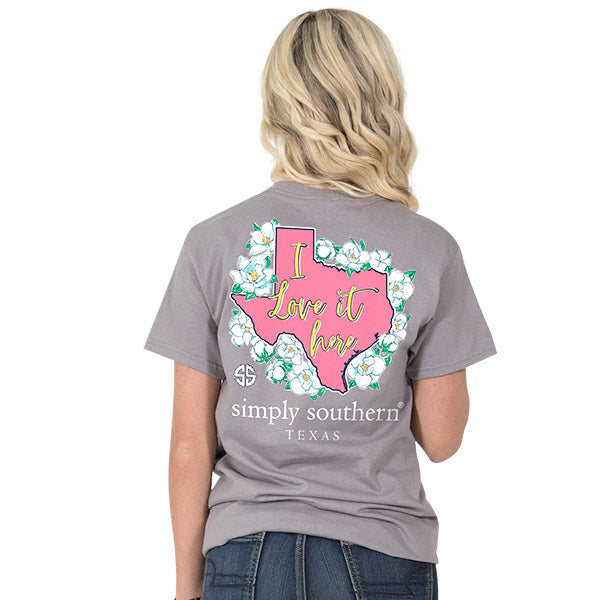 Simply Southern Texas State I Love it Here Home Flowers TX T-Shirt ... e589596c3ad3