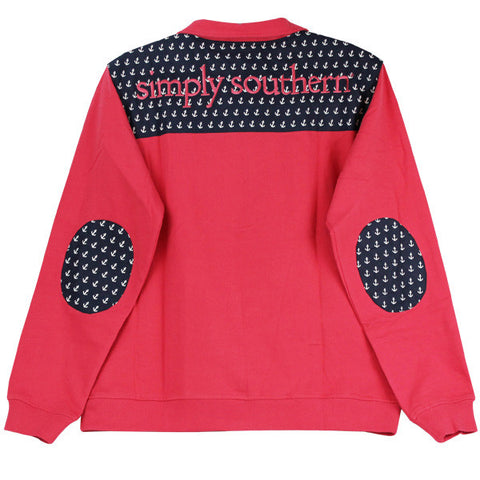 Simply Southern Pullover Coral Anchor Long Sleeve Sweatshirt Shirt Jacket Sweater