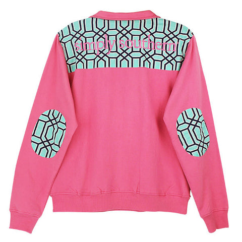 Sale Simply Southern Pullover Pink Baklava Pattern Long Sleeve Sweatshirt Shirt Jacket Sweater