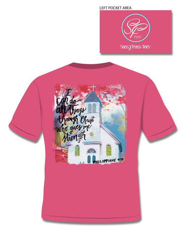 Sassy Frass Phil 4:13 I Can Do All Things Through Christ Church Christian Bright Girlie T Shirt