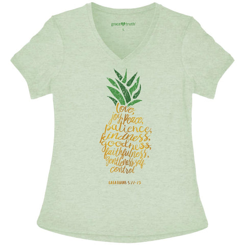Cherished Girl Grace & Truth Pineapple Love Joy Peace V-Neck Girlie Christian Bright T Shirt