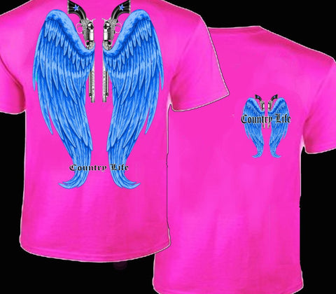 Country Life Outfitters Pink & Blue Wings Guns Vintage Girlie Bright T Shirt - SimplyCuteTees