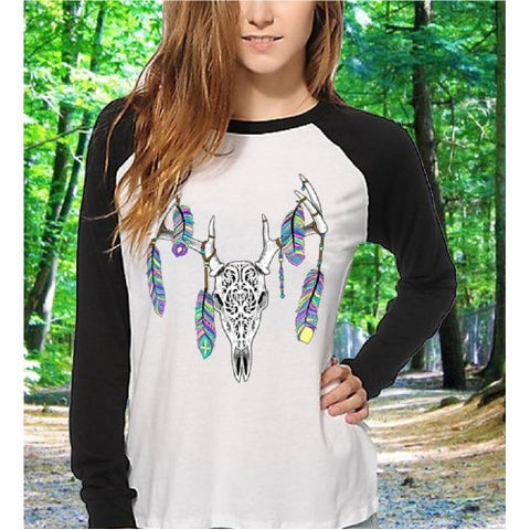 Southern Attitude Vintage Feather Deer Skull Raglan Long Sleeve T-Shirt