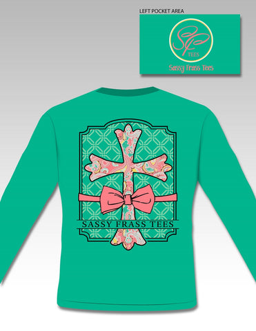 Sale Sassy Frass Preppy Raegan Cross Bow Christian Comfort Colors Long Sleeve Bright T Shirt