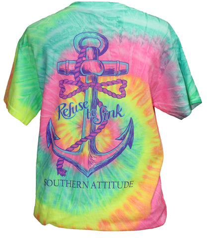 Southern Attitude Refuse To Sink Anchor Tie Dye T-Shirt