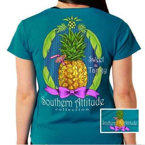 Southern Attitude Preppy Sweet & Tangy Pineapple Sapphire T-Shirt