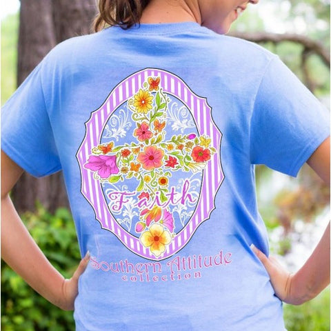 Southern Attitude Preppy Faith Flower Cross Blue T-Shirt