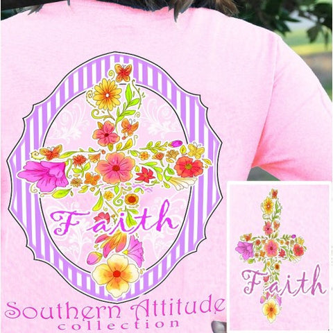 Southern Attitude Preppy Faith Flower Cross Pink T-Shirt